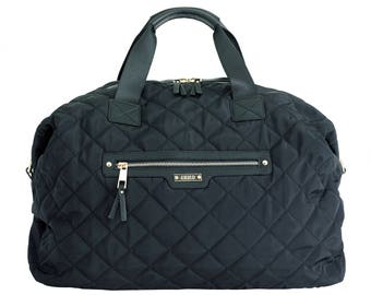 Juno Olivia Black Quilted Overnight Bag