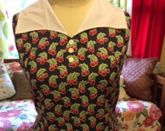 cotton cherry print plus size vintage 60's remake dress