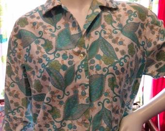 1960's Floral Print Women's Shirt