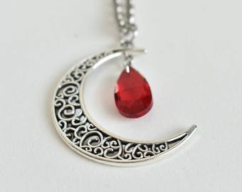 crescent moon necklace | fantasy jewelry | blood drop | vampire inspired