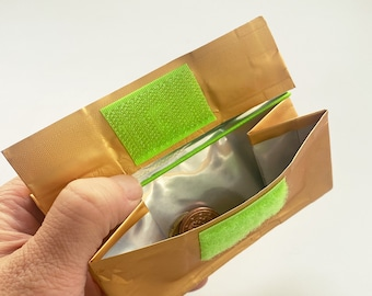 Design PORTEMONNAIE - 500g - with RFID protection - made of used coffee packaging/recycled material/everyday wallet - gold/neon green
