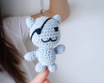 Pirate cat - amigurumi - crochet key chain