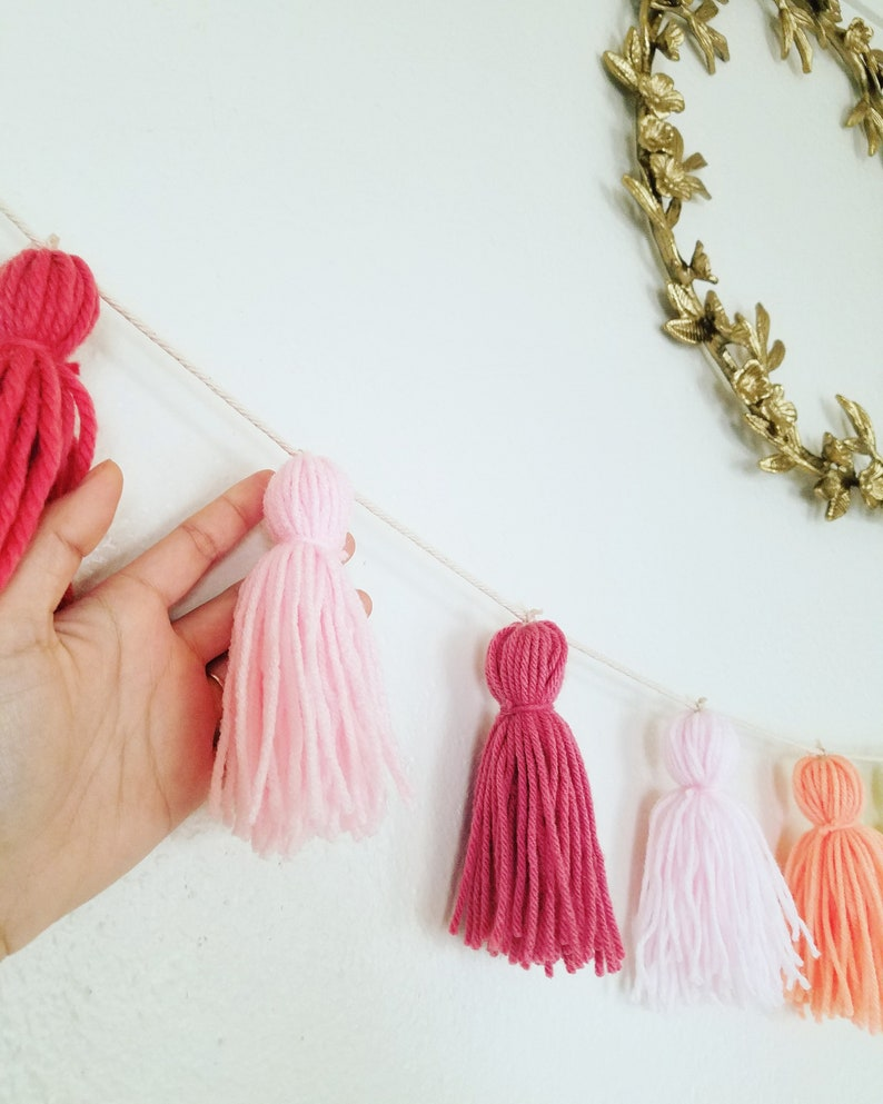 5d1e97c1d9336 Pastel rainbow yarn tassel garland / Unicorn party decor / Classroom decor  / Gender neutral nursery / Kids bedroom / Pride / Cotton candy