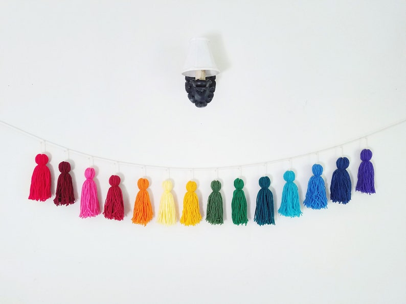 fb88ef1938ce6 Rainbow yarn tassel garland / Pride decor / Classroom wall hanging / Gender  neutral nursery / Kids bedroom / Boho decor / Birthday