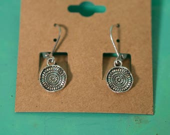 Silver Small Wavy Disc Earrings