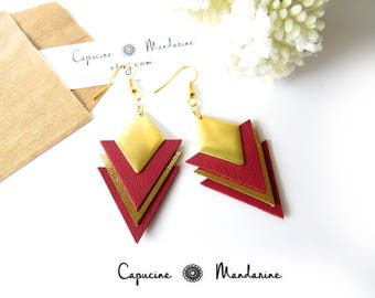 Triangle - gold Burgundy leather earrings