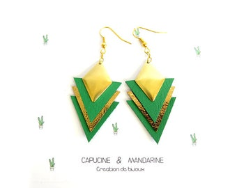 Triangle earrings - leather Gold Green {wife jewelry leather Wax green Cactus earrings}