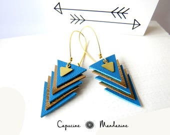 Triangle - gold blue leather earrings