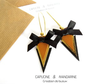 Triangle - gold black brown leather earrings