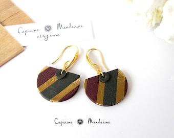 Earrings - gold Burgundy dark green leather