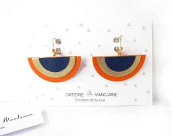 Earrings - Orange Blue Gold fabric {wife jewelry buckles of ears romantic gift leather Wax}