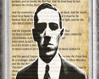 H.P Lovecraft Wall Art Print, Necronomicon Page, Occult, Call Of Cthulu, Mountains of Madness, Al Azif, Aleister Crowley, Grimoire, Thelema