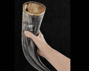 Large Polished Viking Drinking Horn W/Stand