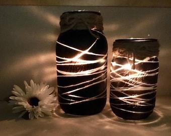 Candle Mason Jar Holder Set, Candle Holder, Candle Decor, Lighted Decor, Chalkboard Decor, Striped Decor, Lighted Mason Jar, Lighted Jars