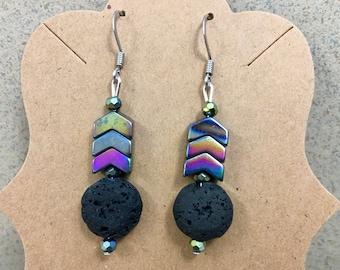 Hypoallergenic Aromatherapy Earrings, Essential Oil Diffusing Earrings, Diffusing Earrings, Lava Earrings, Lava Bead Earrings,