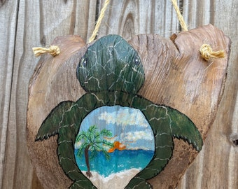 Turtle.  Hand Painted Palm Frond. Turtle Palm Frond. Sunset Turtle
