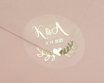 Real Foil Wedding Stickers, Semi Transparent Labels, Rose Gold Favour Stickers, Custom Stickers, Personalised Envelope Seals, D7 not Clear