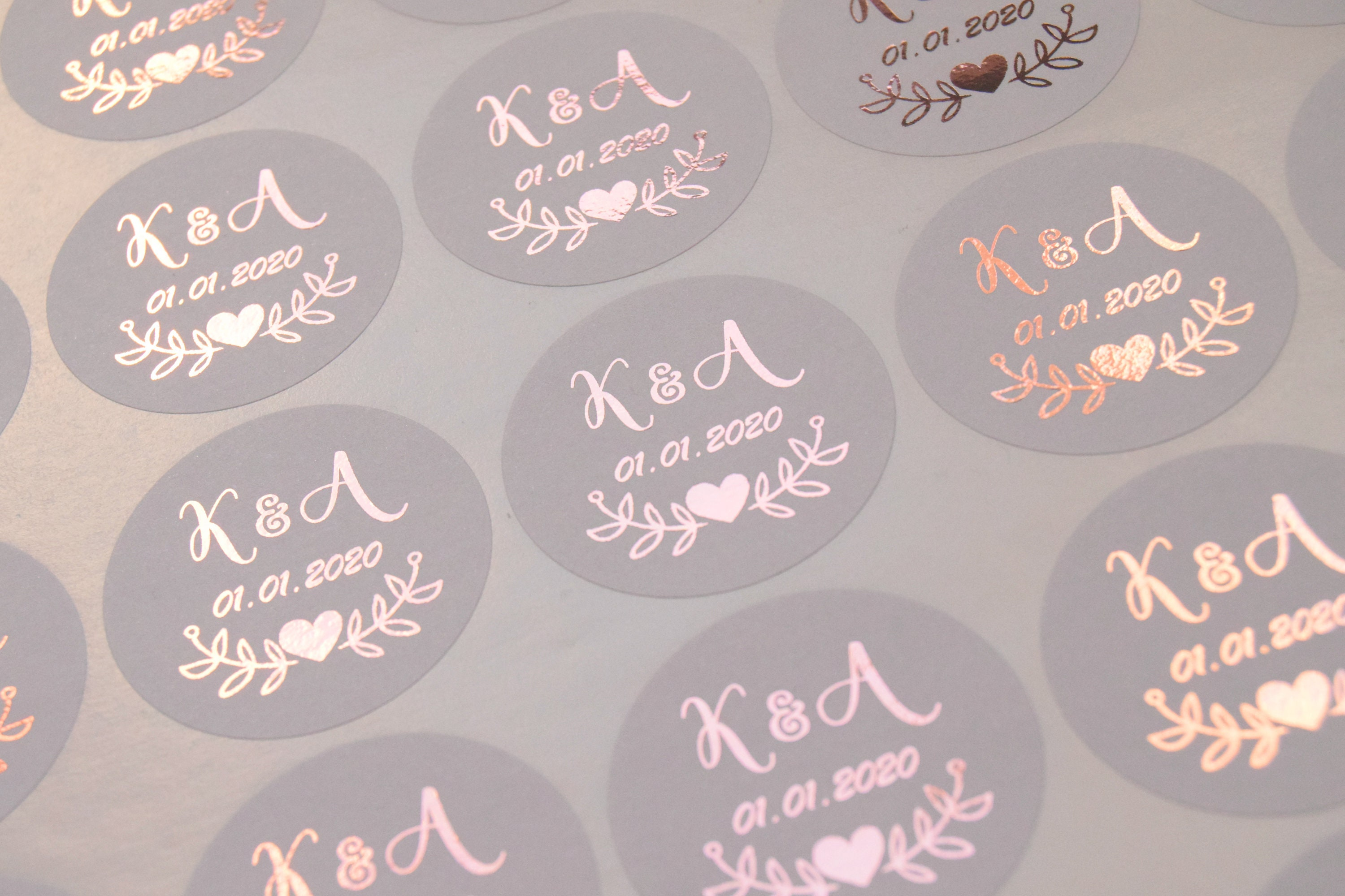 Foil wedding stickers rose gold wedding stickers grey favour stickers wedding labels custom wedding stickers personalised wedding d7