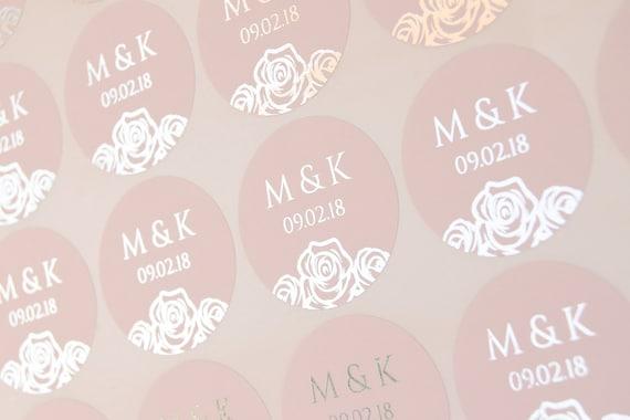 Echte Folie Hochzeit Aufkleber Erröten Hochzeit Etiketten Rose Gold Gunsten Aufkleber Hochzeit Gunsten Aufkleber Personalisierte Umschlag