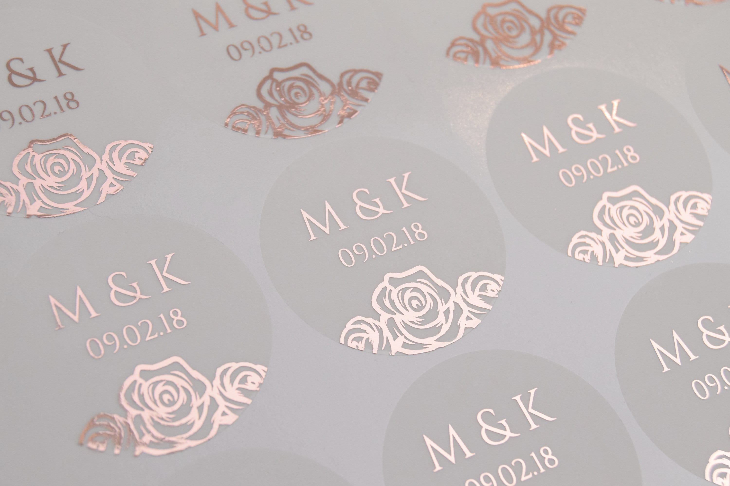 Real foil wedding stickers semi transparent labels rose gold favour stickers almost clear stickers personalised envelope seals d12