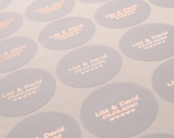 Foil Wedding Stickers, Foil Wedding Labels, Wedding Invitation seals, Grey wedding stickers, Personalised wedding stickers, D9