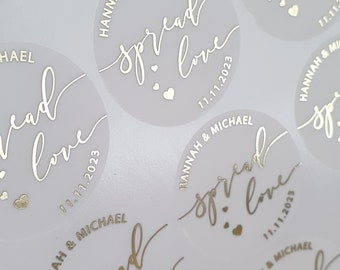 Hand Sanitizer Stickers, Foil Sanitiser Bottle Labels, Personalised Sanitizer Favour stickers, Spread love, Wedding Favor Labels, D29