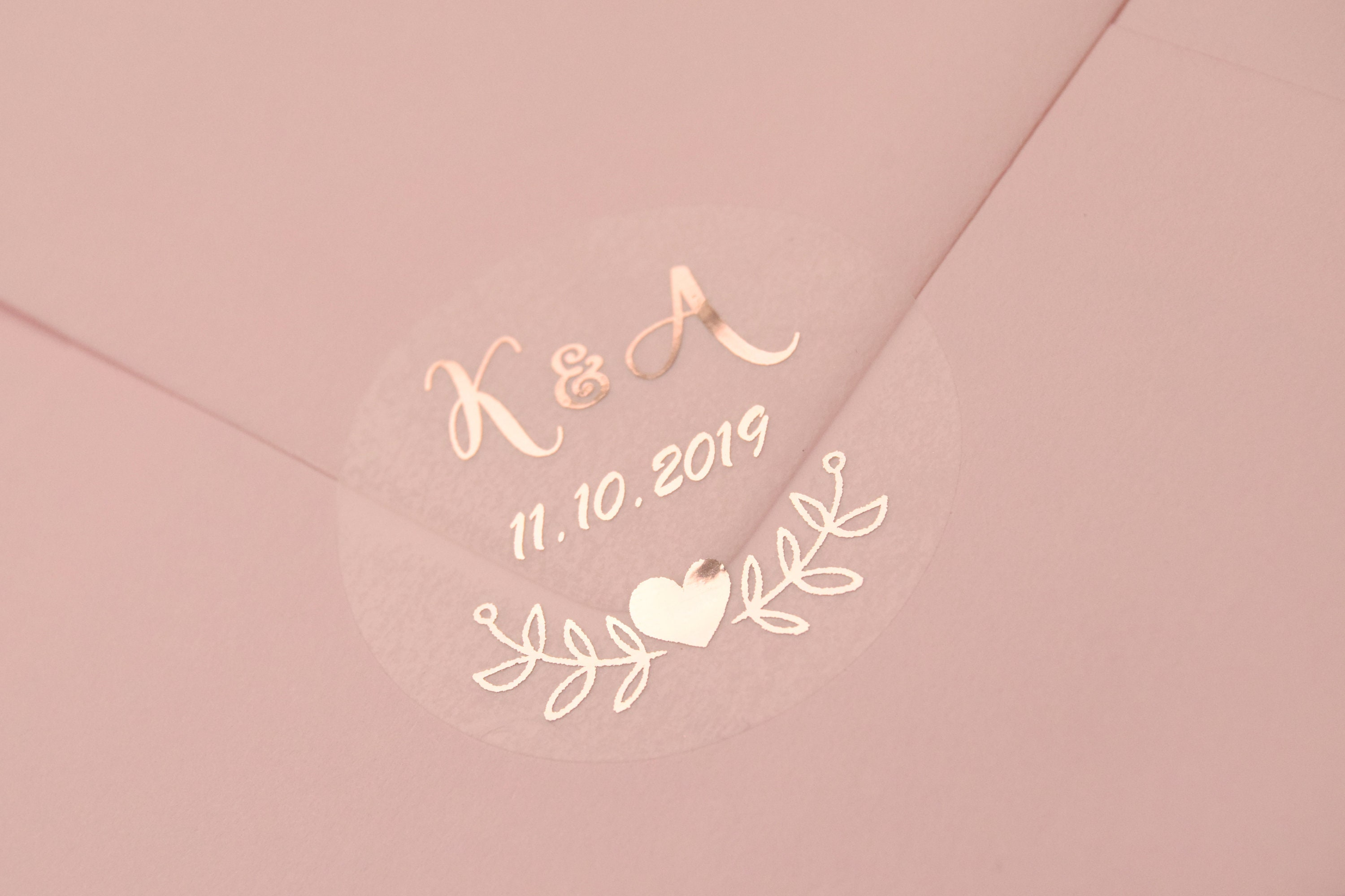 Real foil wedding stickers semi transparent labels rose gold favour stickers custom stickers personalised envelope seals d7 not clear