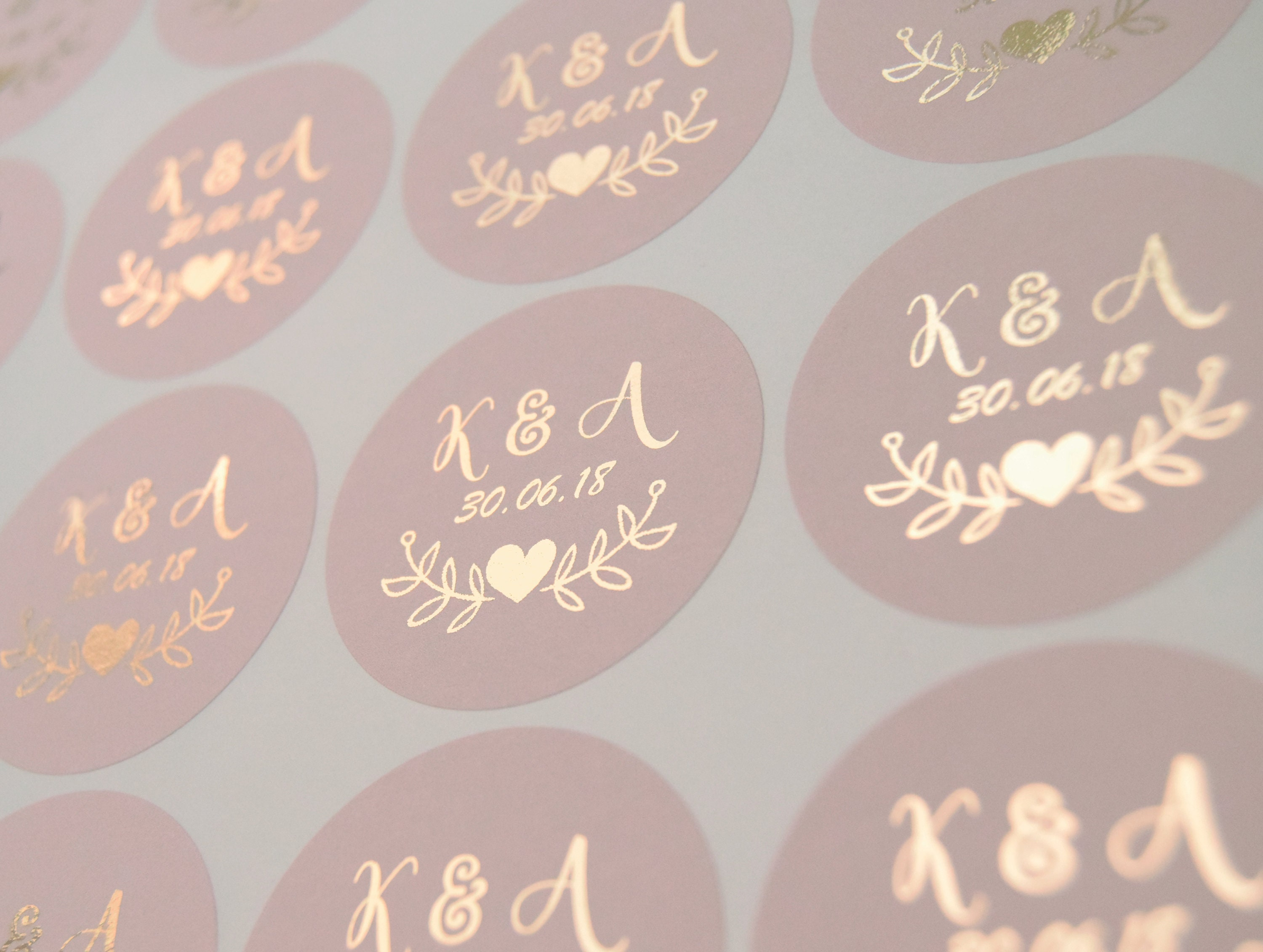 Foil wedding stickers blush wedding labels rose gold favour stickers custom wedding stickers personalised envelope seals d7