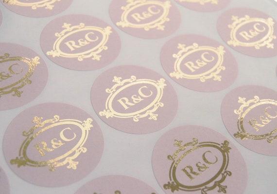 Envelope seals Favour Stickers D14 Engagement stickers Foil Stickers Monogram Foil Wedding Labels Foil Wedding Stickers