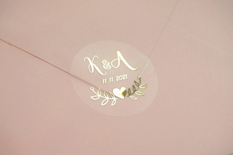 Real Foil Wedding Stickers Semi Transparent Labels Rose Gold image 0