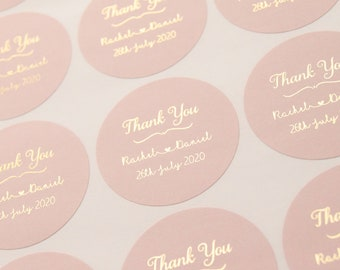 Thank You Stickers, Thank You Labels, Thank You Foil Labels,  Wedding stickers, Wedding Thank You, Blush & Rose Gold, Rose Gold Wedding