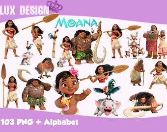 103 Moana ClipArt + Alphabet - PNG Images 300dpi Digital, Clip Art, Instant Download, Graphics transparent background Scrapbook