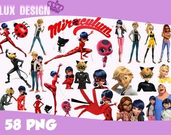 58 Miraculous Ladybug ClipArt- PNG Images 300dpi Digital, Clip Art, Instant Download, Graphics transparent background Scrapbook