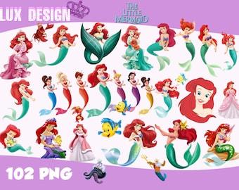 102 The Little Mermaid ClipArt- PNG Images 300dpi Digital, Clip Art, Instant Download, Graphics transparent background Scrapbook