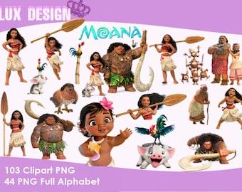 147 Moana Files - ClipArt - Alphabet - PNG Images 300dpi Digital, Clip Art, Instant Download, Graphics transparent background Scrapbook