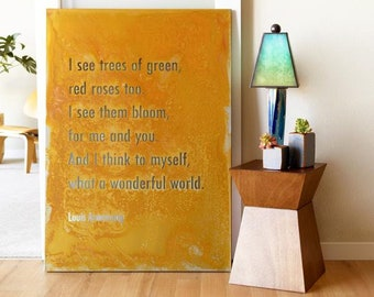 What a Wonderful World Large Metal home decor, Inspiring Louis Armstrong Song Lyric Wall Art, Industrial Best selling aesthetic Room Decor