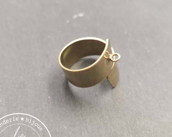 Double ring support 10mm wide with brass ring finish brass
