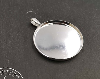 Round pendant - 35x3mm brass silver finish 925 with beaker - made in France