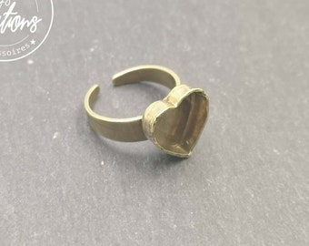 Heart 10x10x3mm brass ring finish