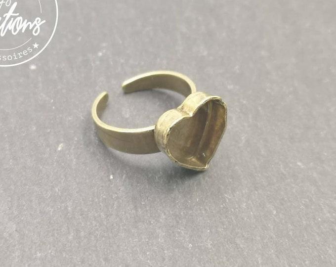 Heart 10x10x3mm brass ring finish