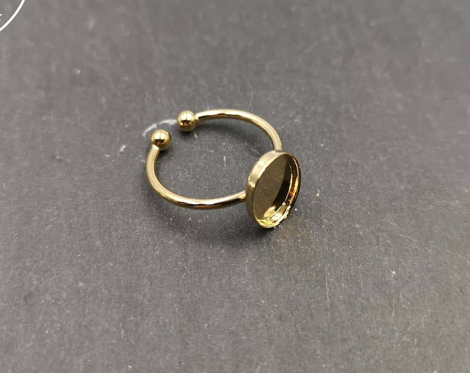 8x10x1.5mm fine oval ring support in gold finish brass - Size S