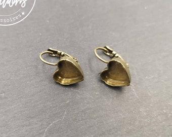 """""""Heart"""" earrings with 10x11x3mm dormers - brass brass finish"""