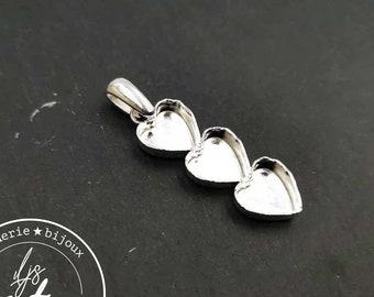 """Multi Hearts"" pendant 3 10x11mm hearts with beaker - brass finish silver 925"