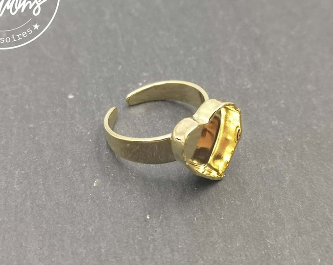 Heart 10x10x3mm heart ring in brass finish gold