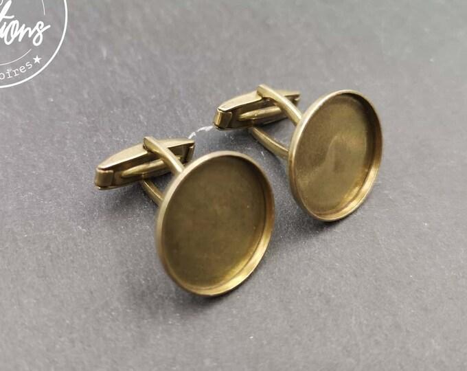 Round cufflinks - Brass finish brass