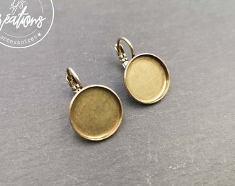 Earrings with sleepers - brass finish brass
