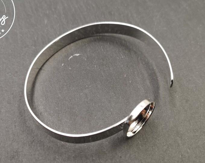 6.3x1mm ribbon bracelet with bowl - Silver finish 925