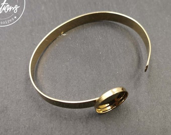 Made in France - 6.3x1mm ribbon bracelet with bowl - Laiton gold finish - Made in France