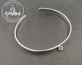 5x1mm ribbon bracelet with 1 ring - Silver finish brass