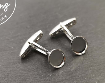 Cufflinks with 8x10mm oval bowl - silver finish